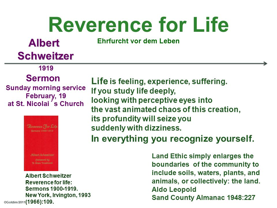 Reverence for Life Ehrfurcht vor dem Leben 1919 Sermon Sunday morning service February, 19 at St.