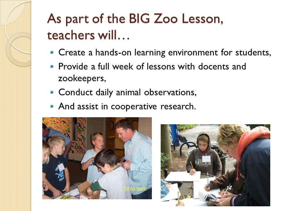 As part of the BIG Zoo Lesson, teachers will… Create a hands-on learning environment for students, Provide a full week of lessons with docents and zookeepers, Conduct daily animal observations, And assist in cooperative research.