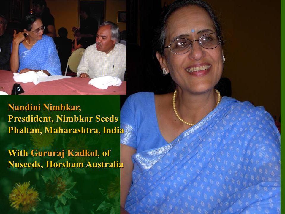 Nandini Nimbkar, Presdident, Nimbkar Seeds Phaltan, Maharashtra, India With Gururaj Kadkol, of Nuseeds, Horsham Australia