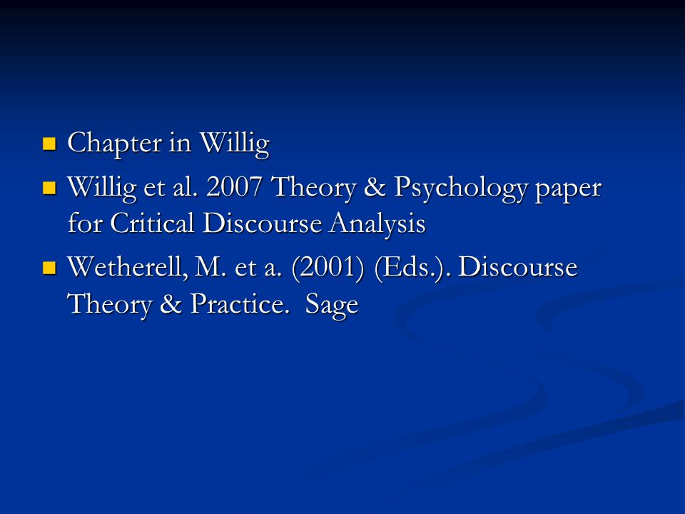 Chapter in Willig Chapter in Willig Willig et al.