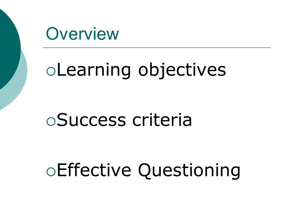 Overview  Learning objectives  Success criteria  Effective Questioning