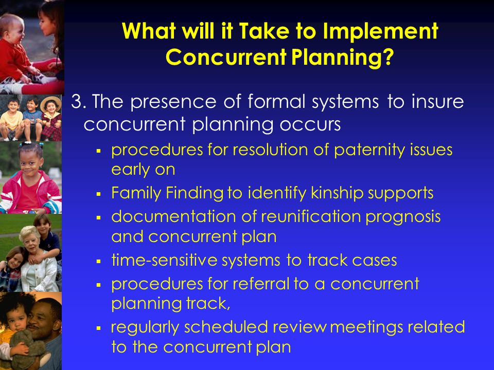 What will it Take to Implement Concurrent Planning.