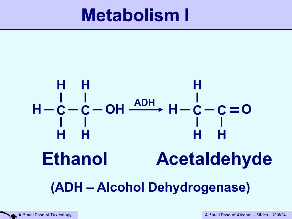 A Small Dose of ToxicologyA Small Dose of Alcohol – Slides – 2/16/04 Metabolism I C HOH Ethanol H H C H H C H H H C O H = Acetaldehyde (ADH – Alcohol Dehydrogenase) ADH