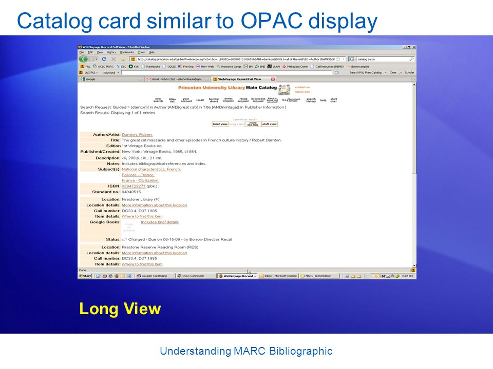 Understanding MARC Bibliographic Catalog card similar to OPAC display Long View