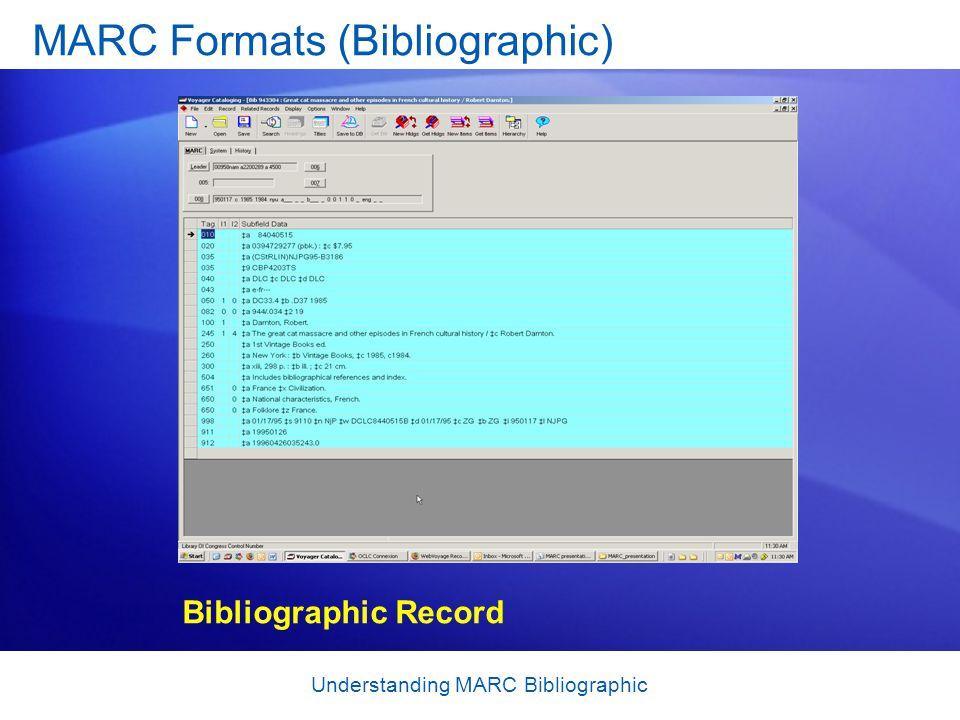 Understanding MARC Bibliographic MARC Formats (Bibliographic) Bibliographic Record