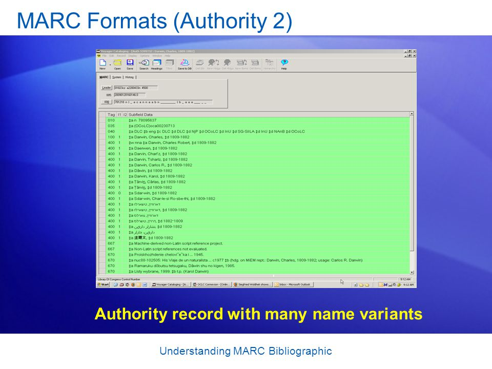 Understanding MARC Bibliographic MARC Formats (Authority 2) Authority record with many name variants