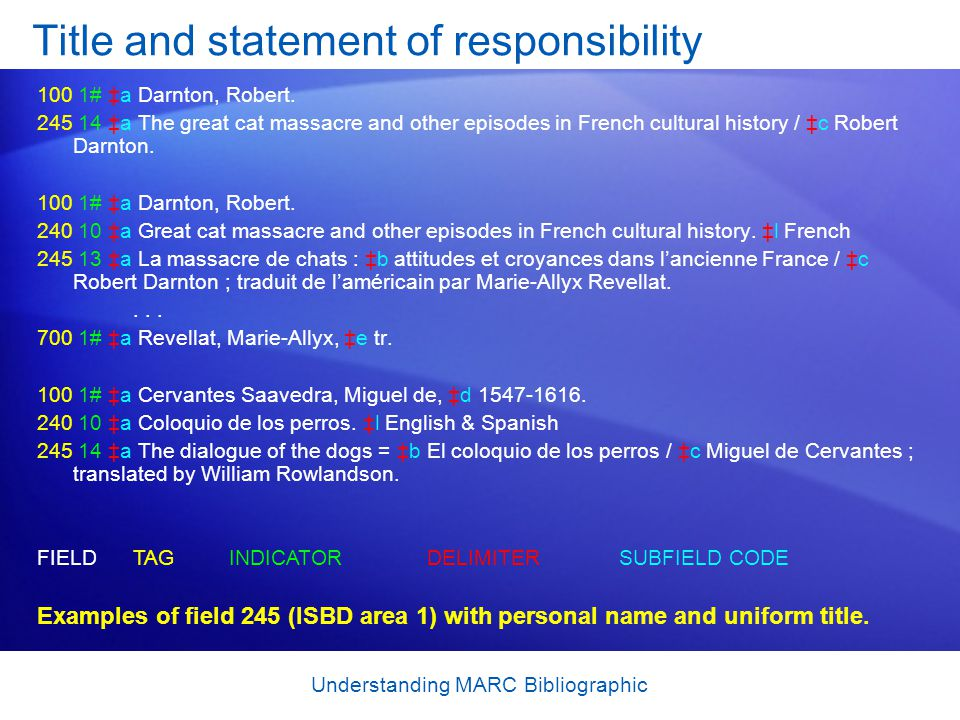 Understanding MARC Bibliographic Title and statement of responsibility 100 1# ‡a Darnton, Robert. 245 14 ‡a The great cat massacre and other episodes