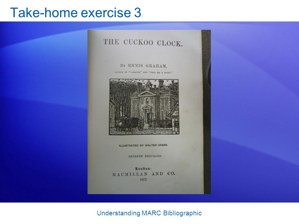 Understanding MARC Bibliographic Take-home exercise 3