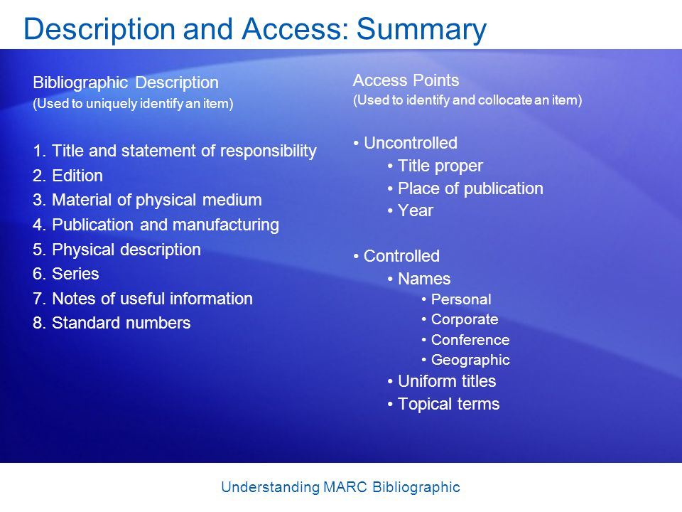 Understanding MARC Bibliographic Description and Access: Summary Access Points (Used to identify and collocate an item) Uncontrolled Title proper Plac