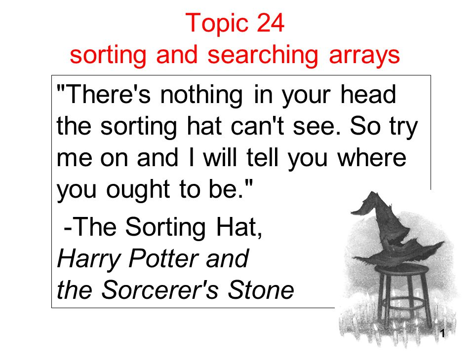 Topic 24 sorting and searching arrays