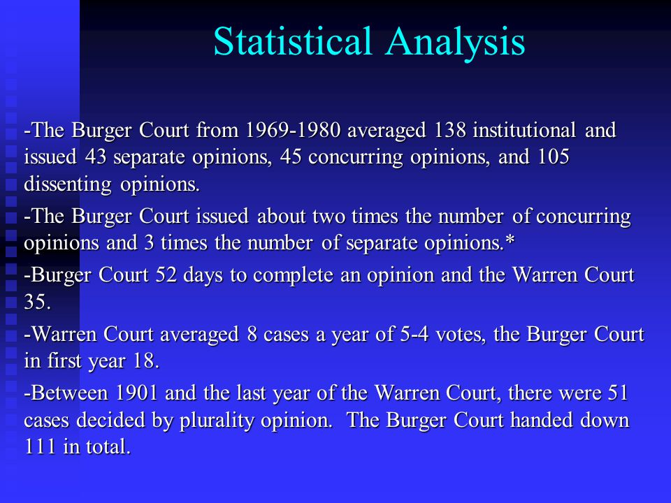 Statistical Analysis -The Burger Court from 1969-1980 averaged 138 institutional and issued 43 separate opinions, 45 concurring opinions, and 105 dissenting opinions.