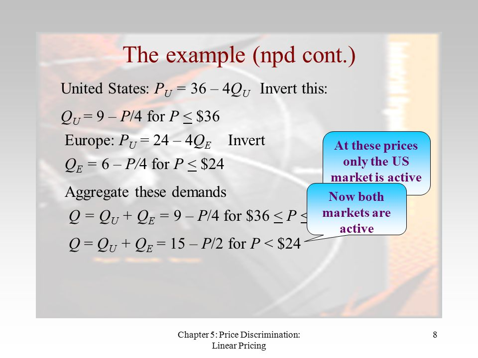 Chapter 5: Price Discrimination: Linear Pricing 8 The example (npd cont.) United States: P U = 36 – 4Q U Invert this: Q U = 9 – P/4 for P < $36 Europe: P U = 24 – 4Q E Invert Q E = 6 – P/4 for P < $24 Aggregate these demands Q = Q U + Q E = 9 – P/4 for $36 < P < $24 At these prices only the US market is active Q = Q U + Q E = 15 – P/2 for P < $24 Now both markets are active