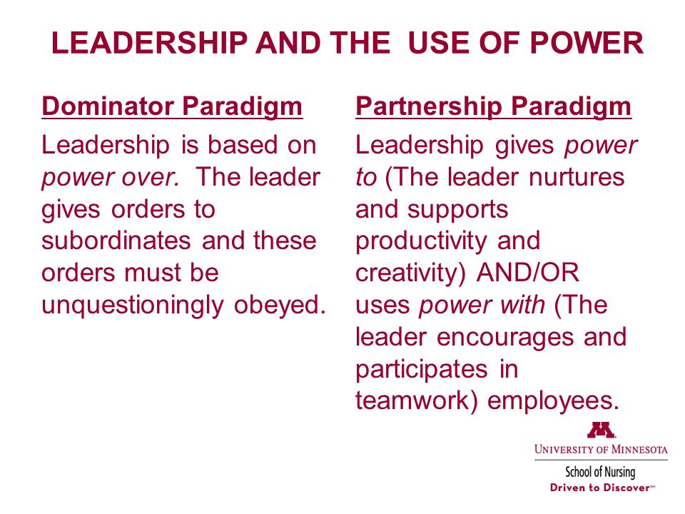 LEADERSHIP AND THE USE OF POWER Dominator Paradigm Leadership is based on power over.