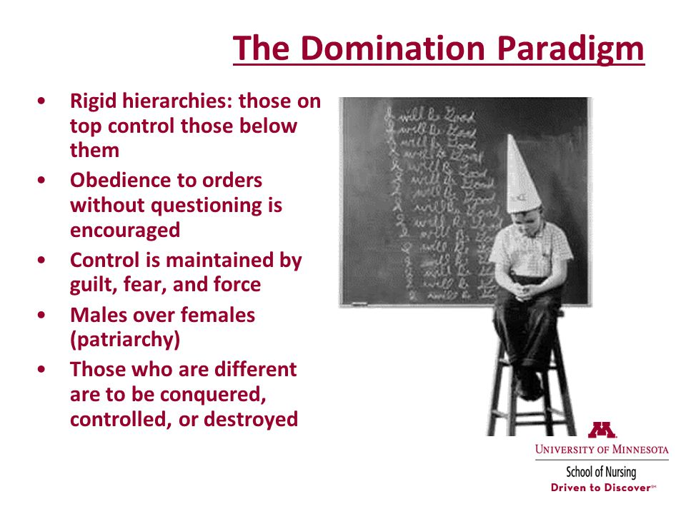 The Domination Paradigm Rigid hierarchies: those on top control those below them Obedience to orders without questioning is encouraged Control is maintained by guilt, fear, and force Males over females (patriarchy) Those who are different are to be conquered, controlled, or destroyed
