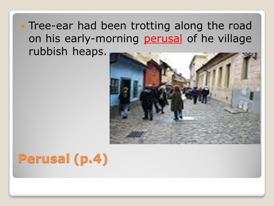 Perusal (p.4) Tree-ear had been trotting along the road on his early-morning perusal of he village rubbish heaps.
