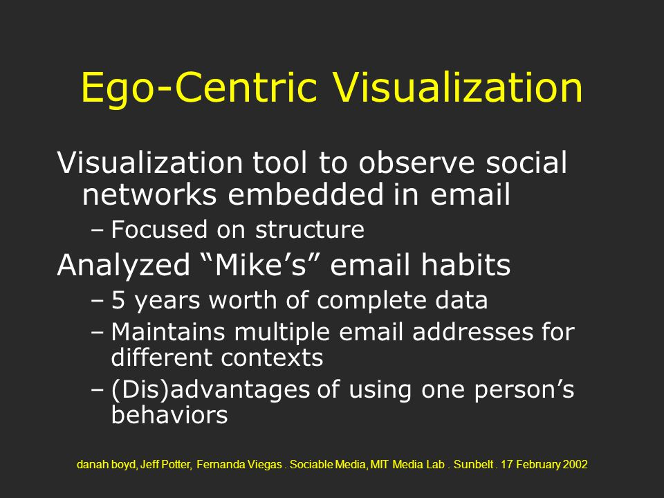 danah boyd, Jeff Potter, Fernanda Viegas. Sociable Media, MIT Media Lab. Sunbelt. 17 February 2002 Ego-Centric Visualization Visualization tool to obs