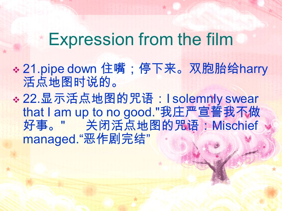 Expression from the film  21.pipe down 住嘴;停下来。双胞胎给 harry 活点地图时说的。  22.