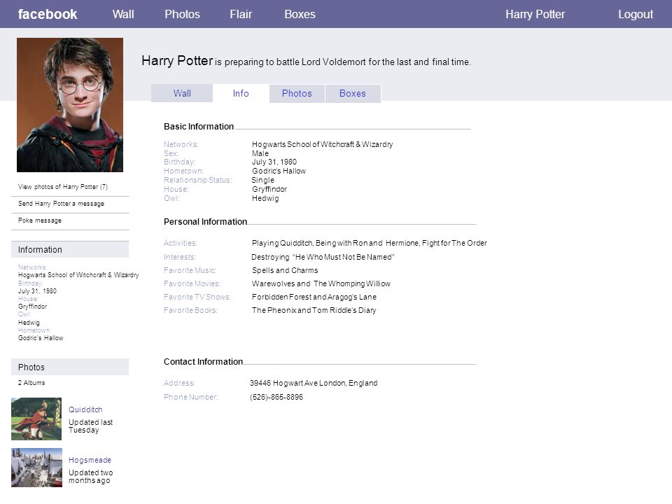 Personal Information facebook Harry Potter is preparing to battle Lord Voldemort for the last and final time.