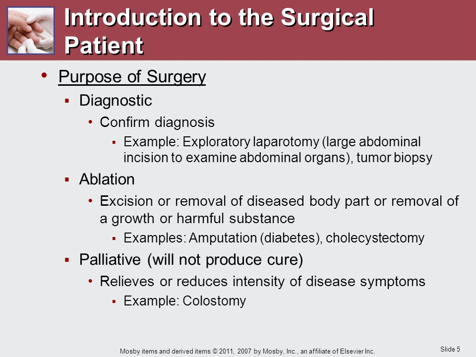 Slide 5 Mosby items and derived items © 2011, 2007 by Mosby, Inc., an affiliate of Elsevier Inc. Introduction to the Surgical Patient Purpose of Surge