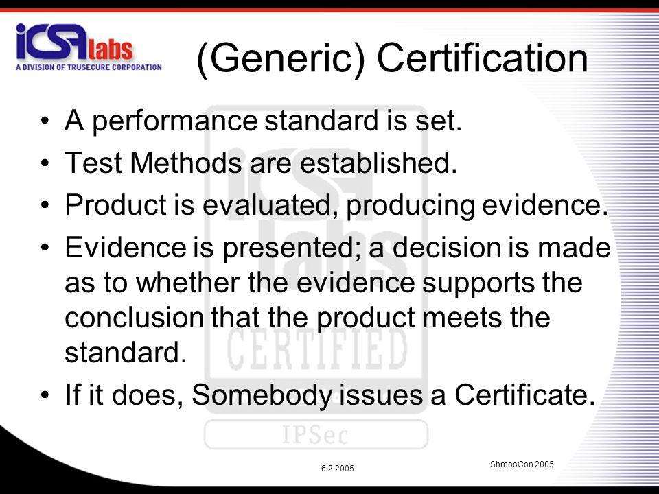 6.2.2005 ShmooCon 2005 (Generic) Certification A performance standard is set.