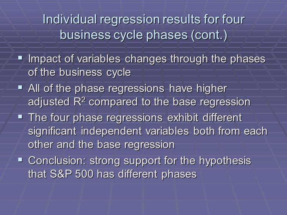 Individual regression results for four business cycle phases (cont.)  Impact of variables changes through the phases of the business cycle  All of the phase regressions have higher adjusted R 2 compared to the base regression  The four phase regressions exhibit different significant independent variables both from each other and the base regression  Conclusion: strong support for the hypothesis that S&P 500 has different phases