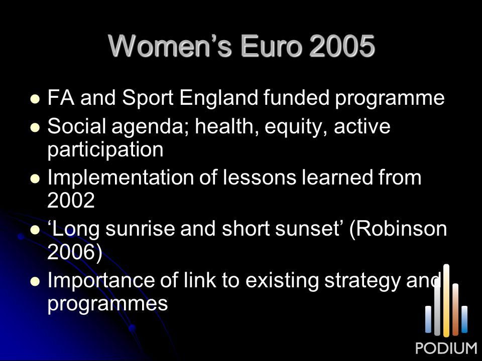 Women's Euro 2005 FA and Sport England funded programme Social agenda; health, equity, active participation Implementation of lessons learned from 200
