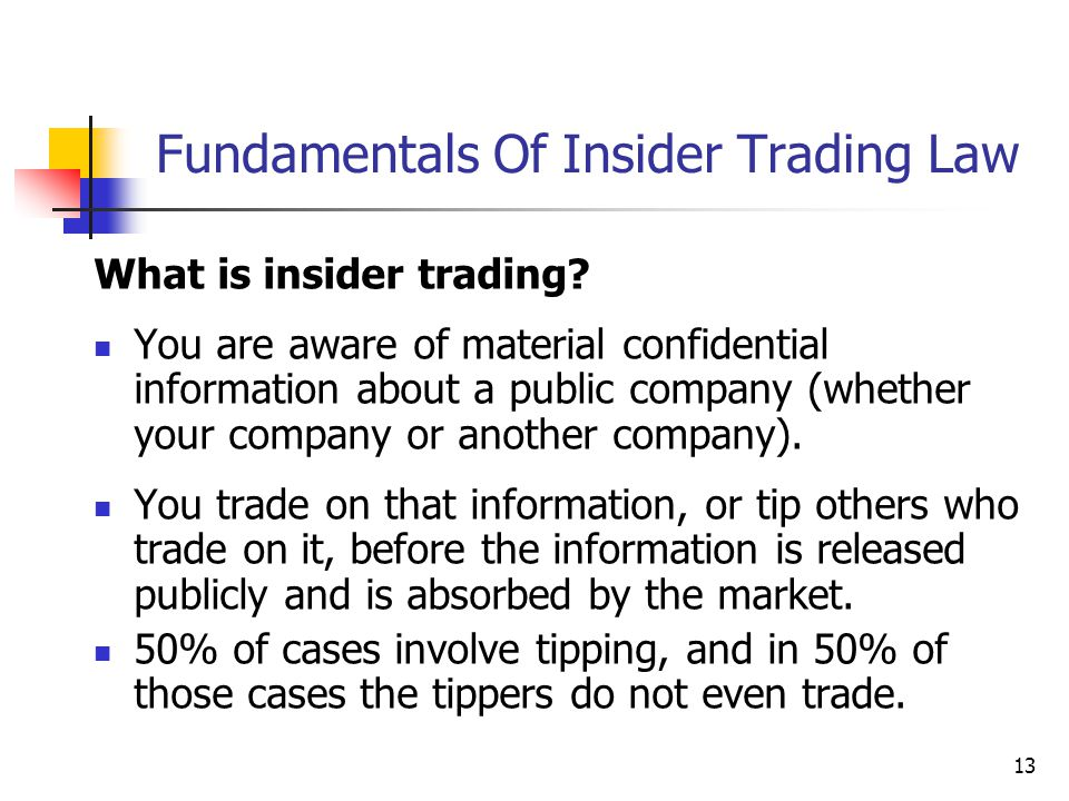 13 Fundamentals Of Insider Trading Law What is insider trading? You are aware of material confidential information about a public company (whether you