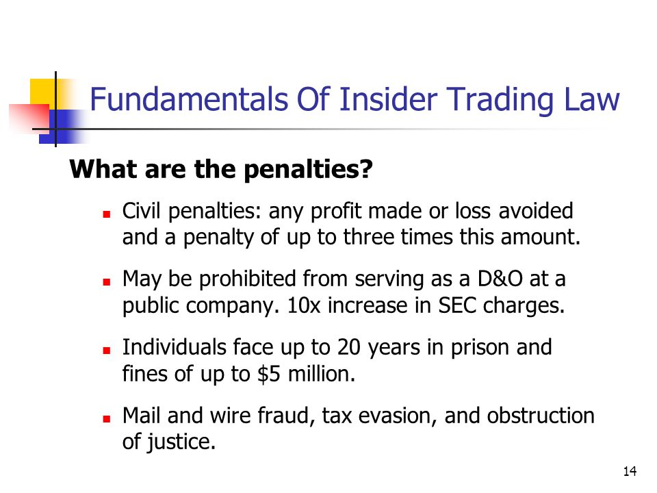 14 Fundamentals Of Insider Trading Law What are the penalties? Civil penalties: any profit made or loss avoided and a penalty of up to three times thi