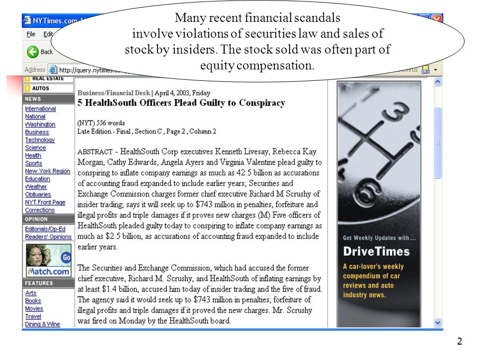 2 Many recent financial scandals involve violations of securities law and sales of stock by insiders.