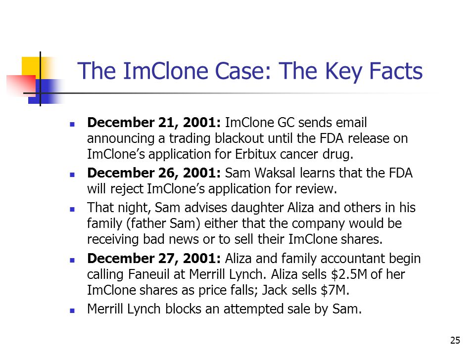 25 The ImClone Case: The Key Facts December 21, 2001: ImClone GC sends email announcing a trading blackout until the FDA release on ImClone's applicat