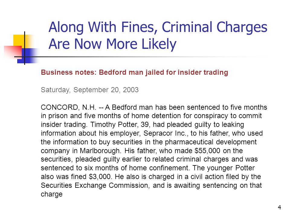 4 Business notes: Bedford man jailed for insider trading Saturday, September 20, 2003 CONCORD, N.H. -- A Bedford man has been sentenced to five months