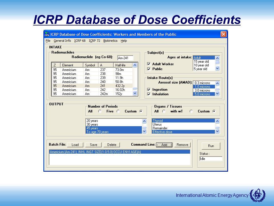 International Atomic Energy Agency ICRP Database of Dose Coefficients