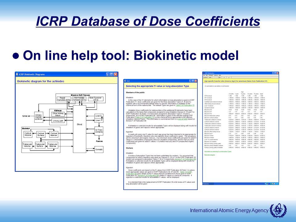 International Atomic Energy Agency ICRP Database of Dose Coefficients On line help tool: Biokinetic model