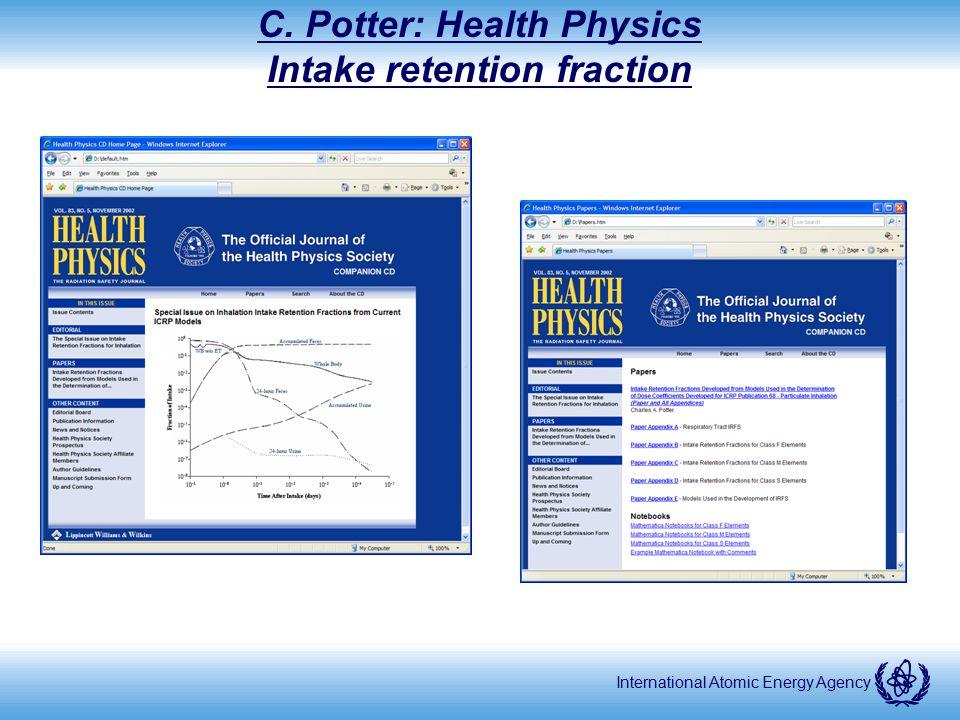 International Atomic Energy Agency C. Potter: Health Physics Intake retention fraction