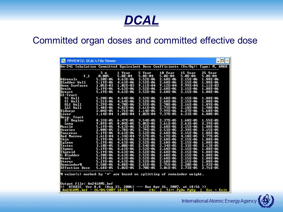 International Atomic Energy Agency DCAL Committed organ doses and committed effective dose