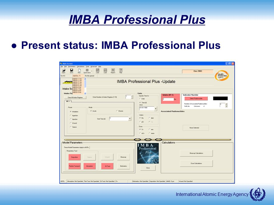 International Atomic Energy Agency IMBA Professional Plus Present status: IMBA Professional Plus
