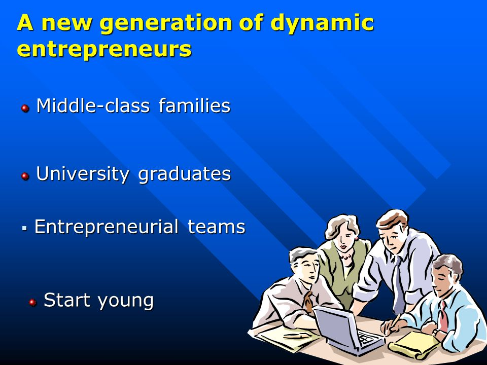 A new generation of dynamic entrepreneurs Middle-class families Middle-class families University graduates University graduates  Entrepreneurial teams Start young