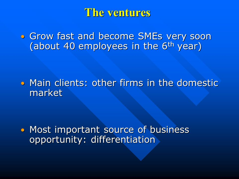 The ventures Grow fast and become SMEs very soon (about 40 employees in the 6 th year) Grow fast and become SMEs very soon (about 40 employees in the 6 th year) Main clients: other firms in the domestic market Main clients: other firms in the domestic market Most important source of business opportunity: differentiation Most important source of business opportunity: differentiation