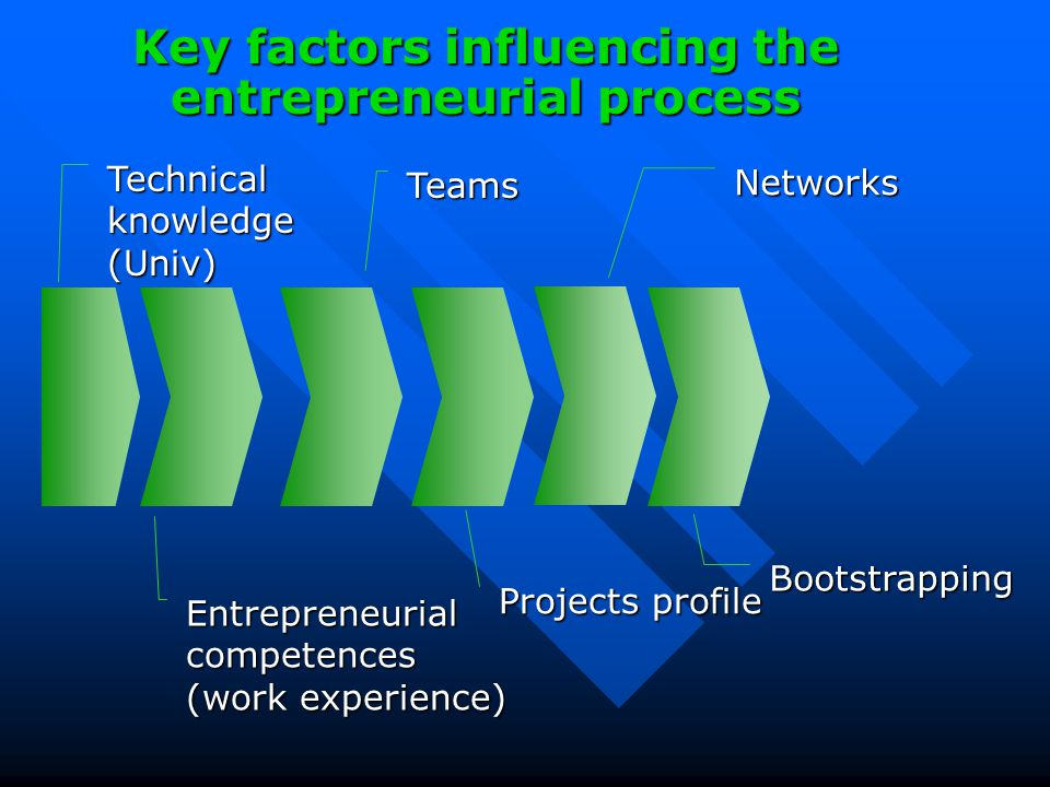 Networks Bootstrapping Projects profile Teams Entrepreneurial competences (work experience) Technical knowledge (Univ) Key factors influencing the entrepreneurial process