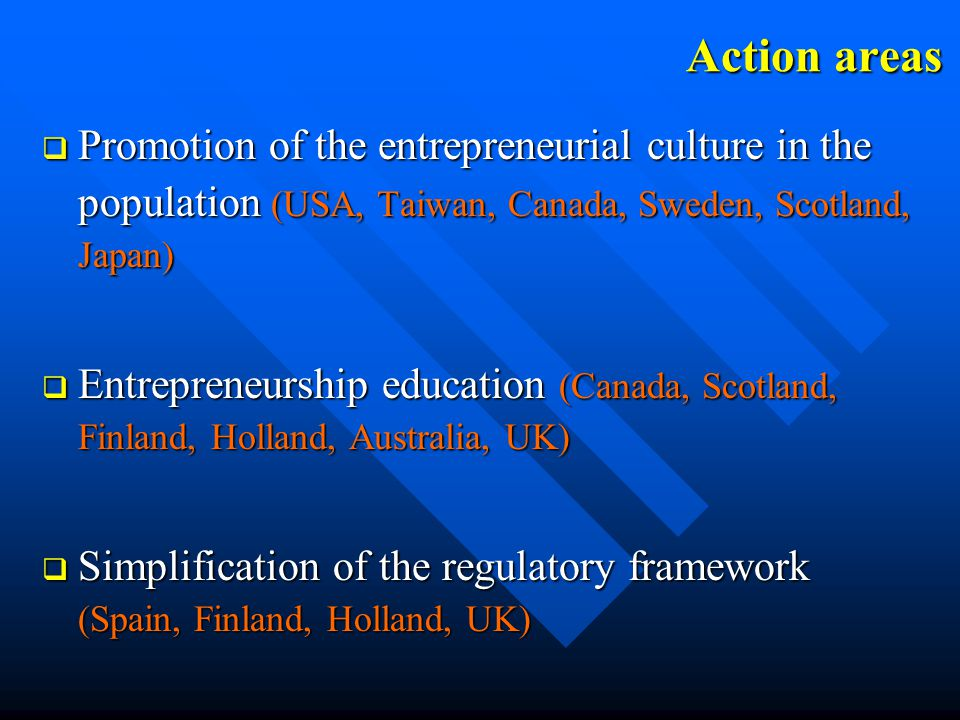 Action areas q Promotion of the entrepreneurial culture in the population (USA, Taiwan, Canada, Sweden, Scotland, Japan) q Entrepreneurship education (Canada, Scotland, Finland, Holland, Australia, UK) q Simplification of the regulatory framework (Spain, Finland, Holland, UK)