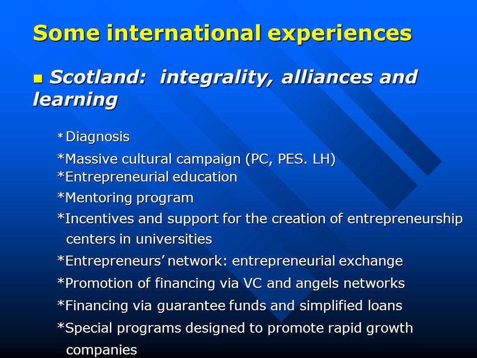 Some international experiences Scotland: integrality, alliances and learning Scotland: integrality, alliances and learning * Diagnosis *Massive cultural campaign (PC, PES.
