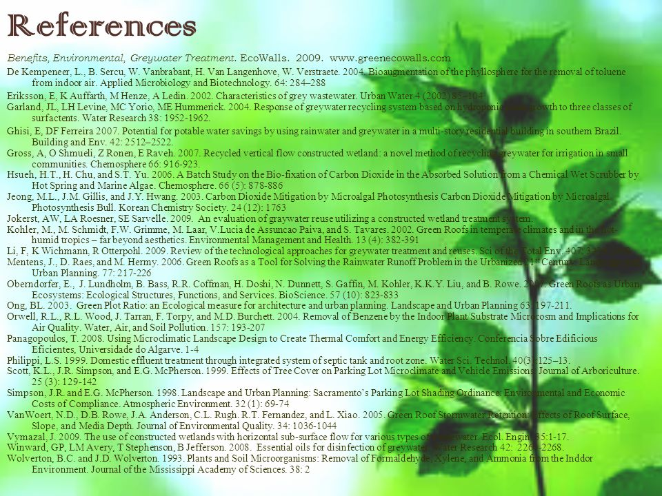 References Benefits, Environmental, Greywater Treatment.