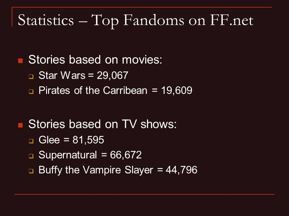 Statistics – Top Fandoms on FF.net Stories based on movies:  Star Wars = 29,067  Pirates of the Carribean = 19,609 Stories based on TV shows:  Glee = 81,595  Supernatural = 66,672  Buffy the Vampire Slayer = 44,796