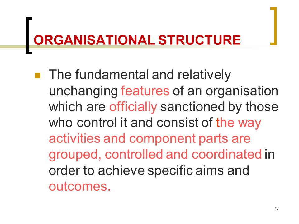 19 ORGANISATIONAL STRUCTURE The fundamental and relatively unchanging features of an organisation which are officially sanctioned by those who control it and consist of the way activities and component parts are grouped, controlled and coordinated in order to achieve specific aims and outcomes.