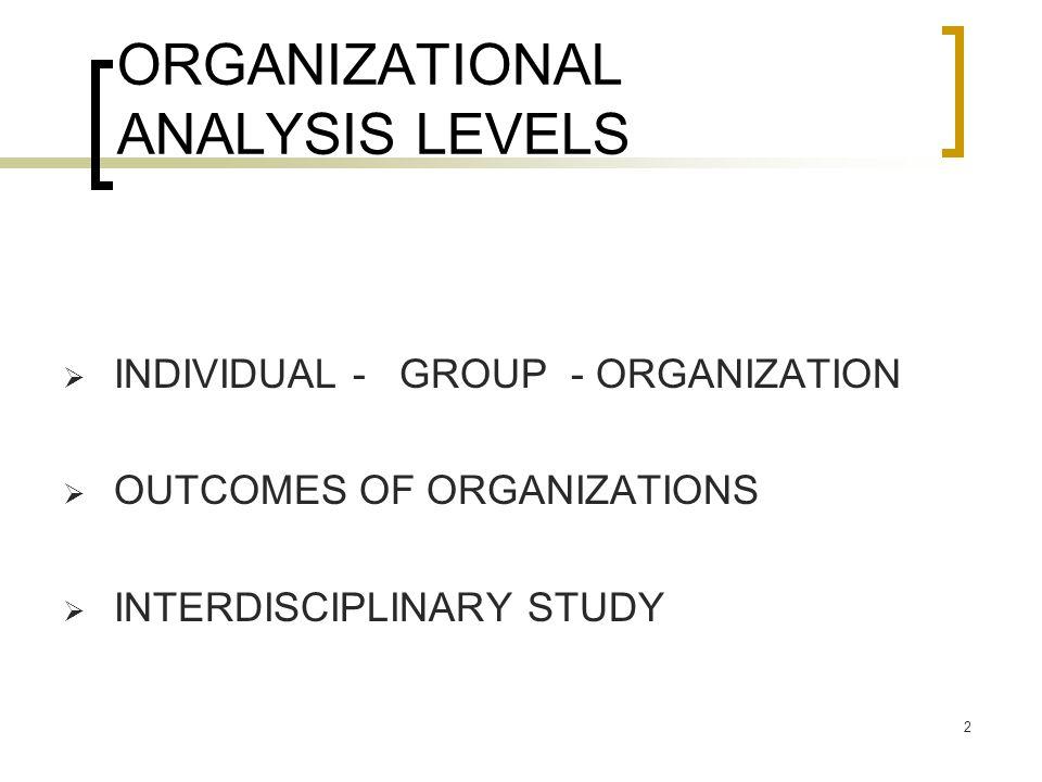 2 ORGANIZATIONAL ANALYSIS LEVELS  INDIVIDUAL - GROUP - ORGANIZATION  OUTCOMES OF ORGANIZATIONS  INTERDISCIPLINARY STUDY