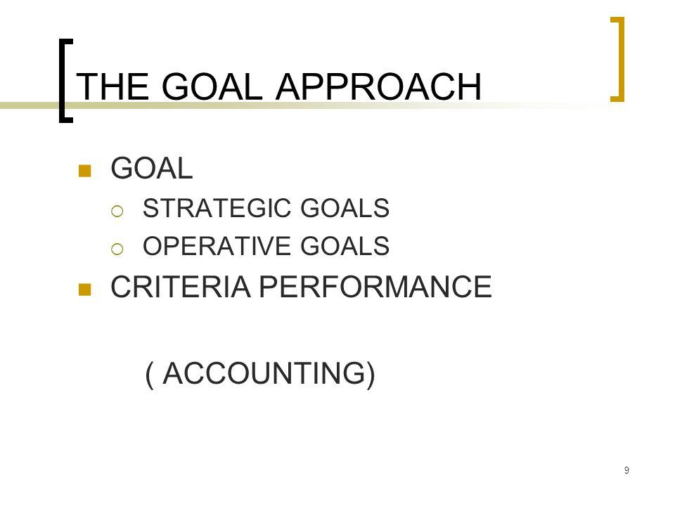 9 THE GOAL APPROACH GOAL  STRATEGIC GOALS  OPERATIVE GOALS CRITERIA PERFORMANCE ( ACCOUNTING)