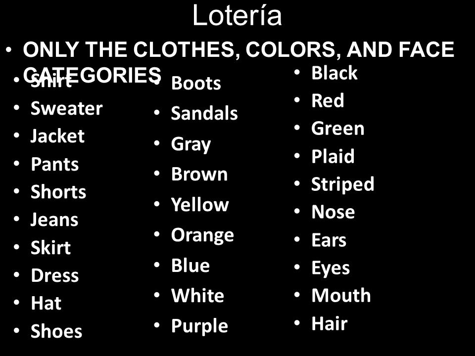 Lotería ONLY THE CLOTHES, COLORS, AND FACE CATEGORIES Shirt Sweater Jacket Pants Shorts Jeans Skirt Dress Hat Shoes Boots Sandals Gray Brown Yellow Orange Blue White Purple Black Red Green Plaid Striped Nose Ears Eyes Mouth Hair