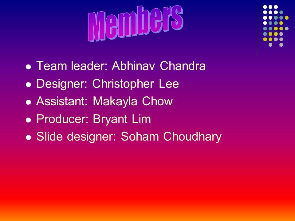 Team leader: Abhinav Chandra Designer: Christopher Lee Assistant: Makayla Chow Producer: Bryant Lim Slide designer: Soham Choudhary