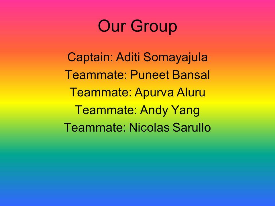 Our Group Captain: Aditi Somayajula Teammate: Puneet Bansal Teammate: Apurva Aluru Teammate: Andy Yang Teammate: Nicolas Sarullo