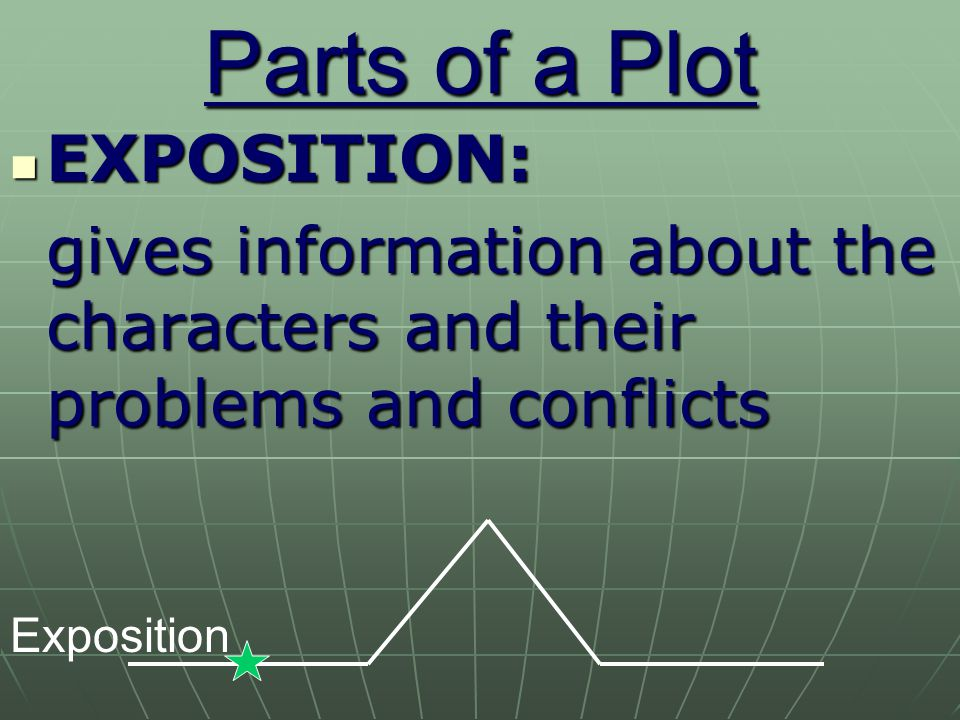 Parts of a Plot EXPOSITION: EXPOSITION: gives information about the characters and their problems and conflicts Exposition